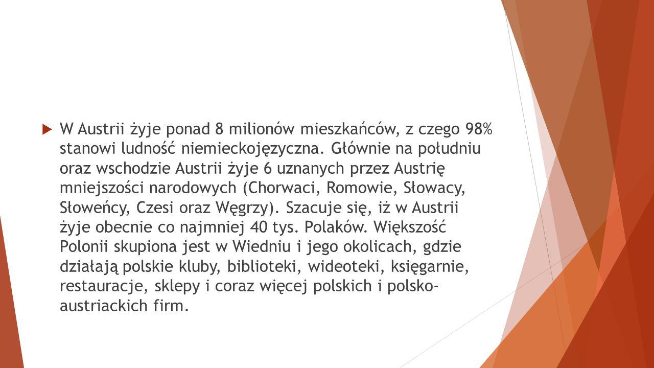 W Austrii żyje ponad 8 milionów mieszkańców, z czego 98% stanowi ludność niemieckojęzyczna.