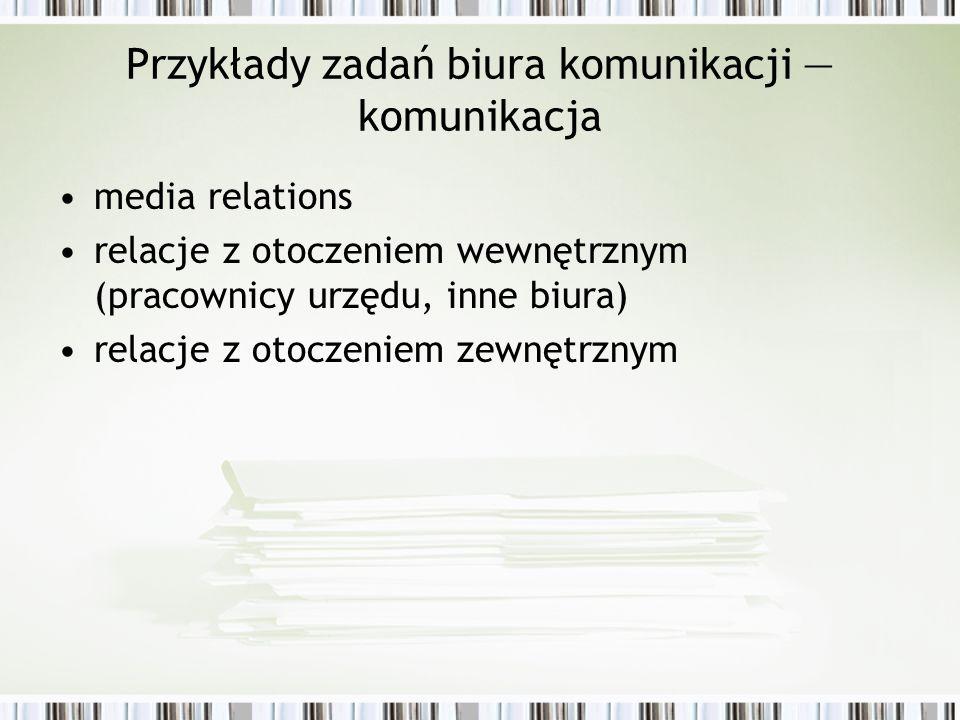 Przykłady zadań biura komunikacji — komunikacja