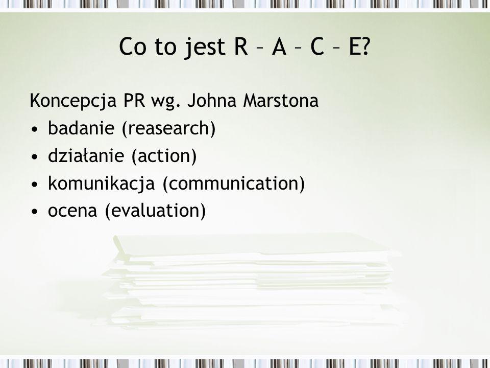 Co to jest R – A – C – E Koncepcja PR wg. Johna Marstona