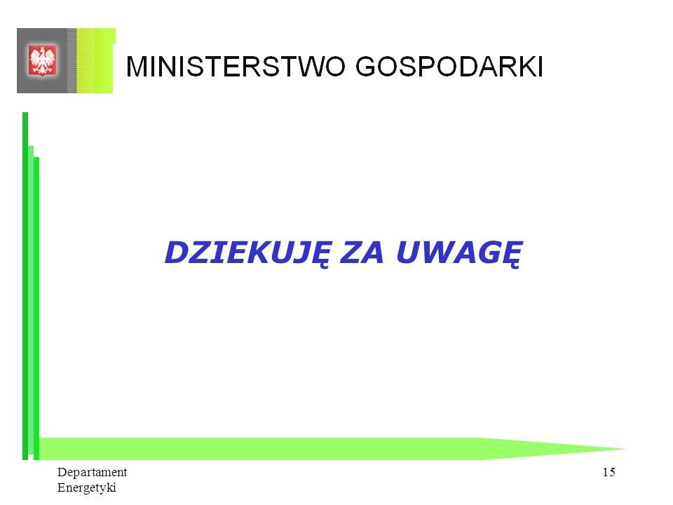 DZIEKUJĘ ZA UWAGĘ Departament Energetyki