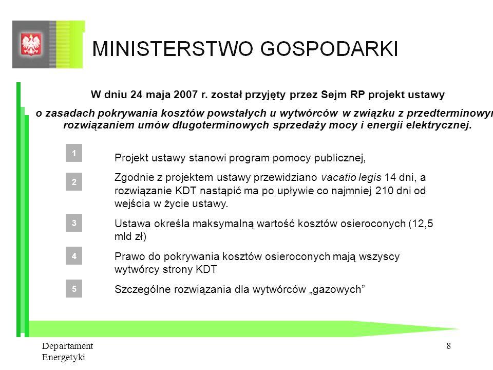 W dniu 24 maja 2007 r. został przyjęty przez Sejm RP projekt ustawy