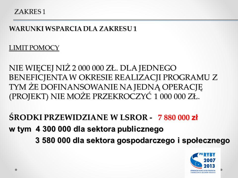 ŚRODKI PRZEWIDZIANE W LSROR - 7 880 000 zł