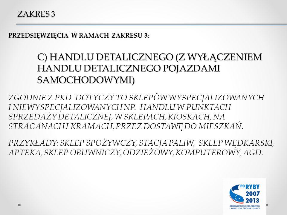 ZAKRES 3 PRZEDSIĘWZIĘCIA W RAMACH ZAKRESU 3: C) HANDLU DETALICZNEGO (Z WYŁĄCZENIEM HANDLU DETALICZNEGO POJAZDAMI SAMOCHODOWYMI)
