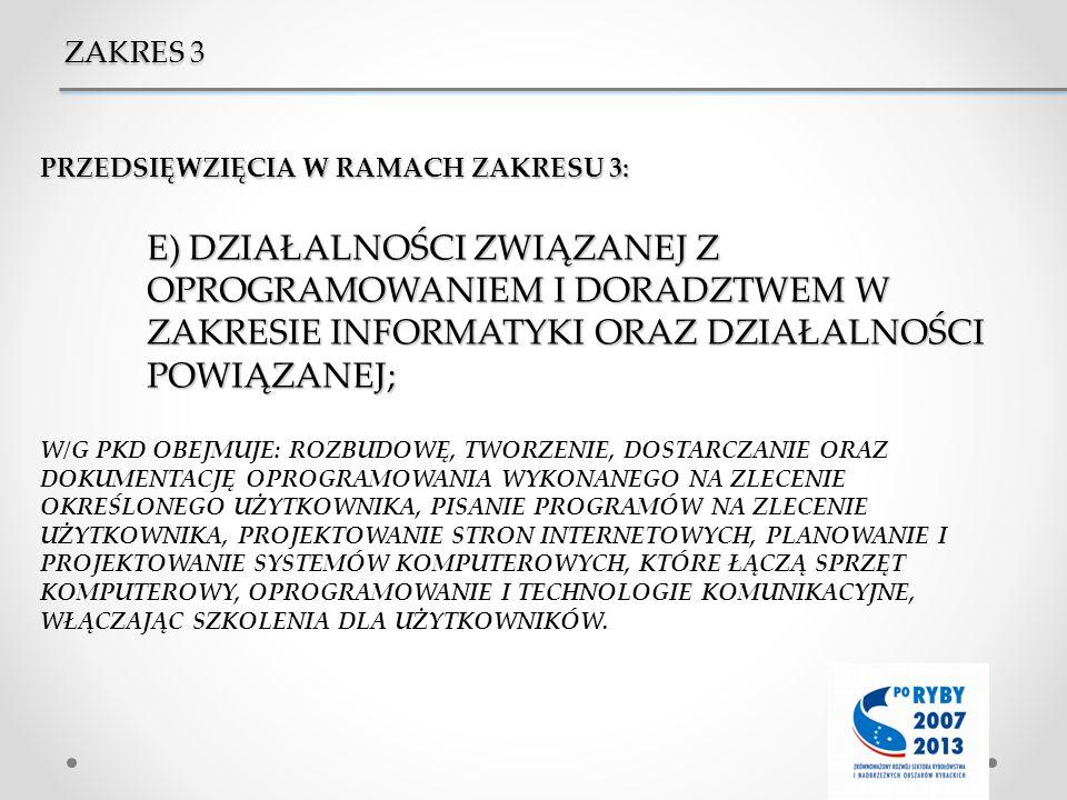ZAKRES 3 PRZEDSIĘWZIĘCIA W RAMACH ZAKRESU 3: