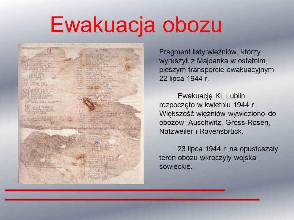 Ewakuacja obozu Fragment listy więźniów, którzy wyruszyli z Majdanka w ostatnim, pieszym transporcie ewakuacyjnym 22 lipca 1944 r.