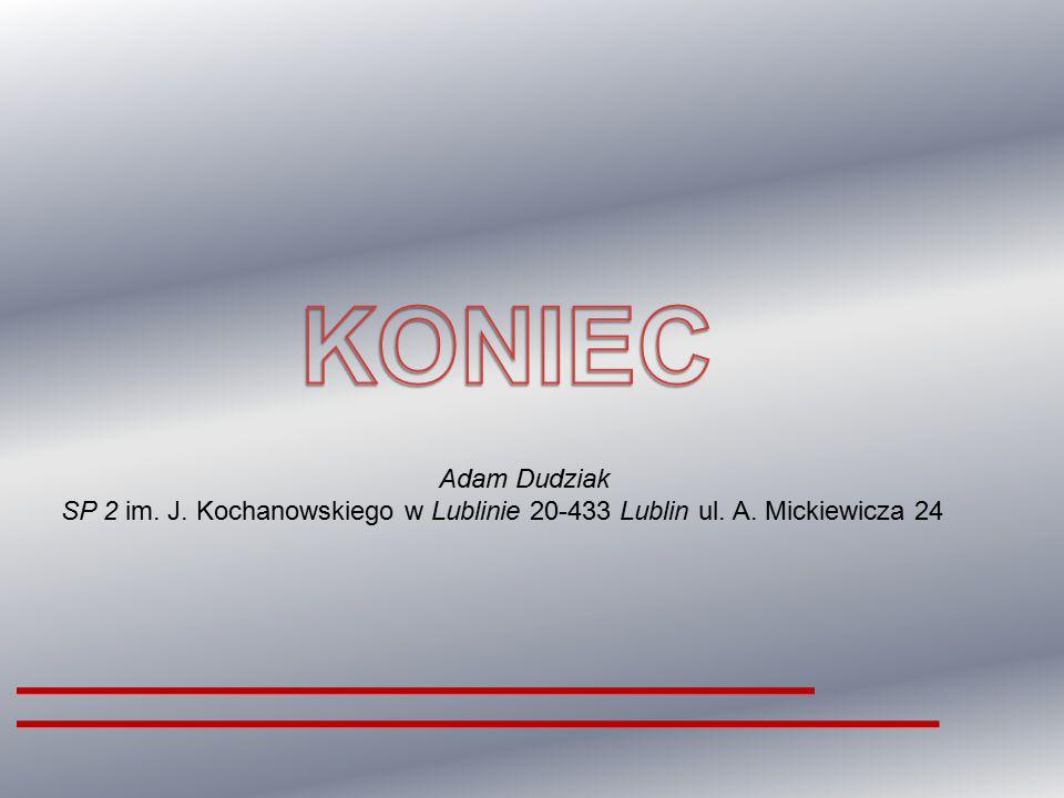 KONIEC Adam Dudziak SP 2 im. J. Kochanowskiego w Lublinie 20-433 Lublin ul. A. Mickiewicza 24