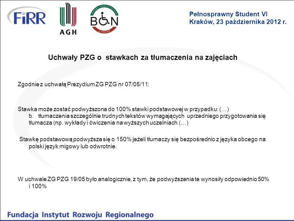 Uchwały PZG o stawkach za tłumaczenia na zajęciach