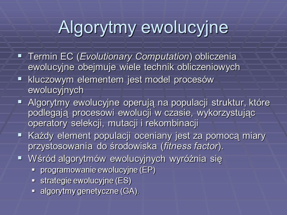 Algorytmy ewolucyjne Termin EC (Evolutionary Computation) obliczenia ewolucyjne obejmuje wiele technik obliczeniowych.