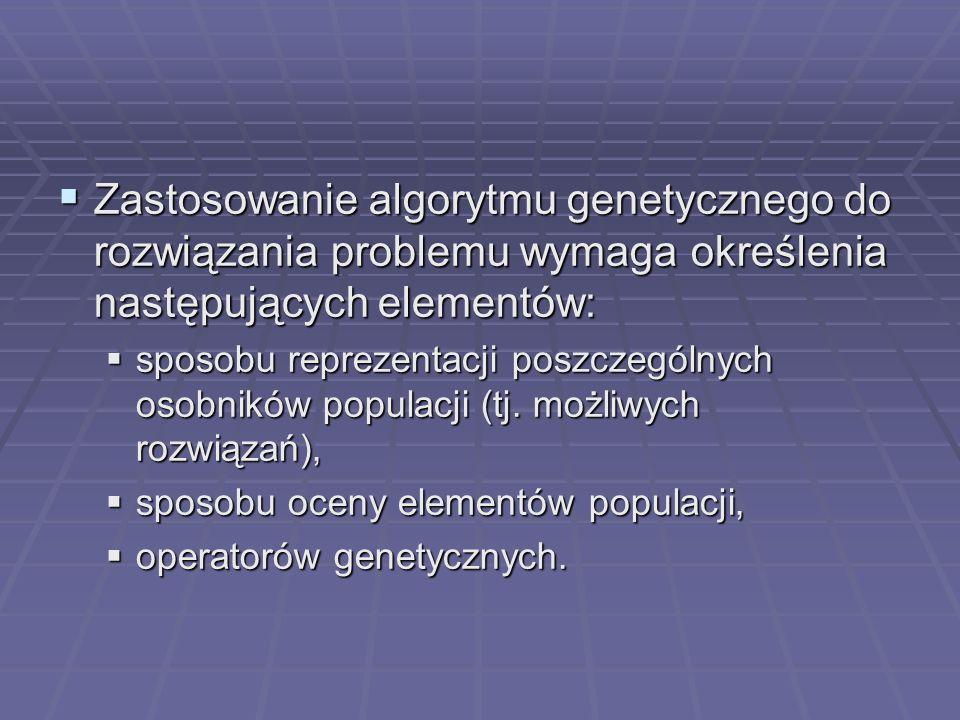 Zastosowanie algorytmu genetycznego do rozwiązania problemu wymaga określenia następujących elementów: