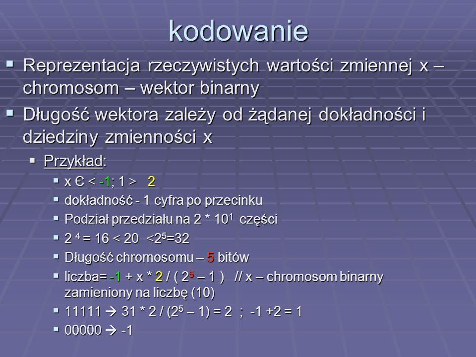kodowanie Reprezentacja rzeczywistych wartości zmiennej x – chromosom – wektor binarny.
