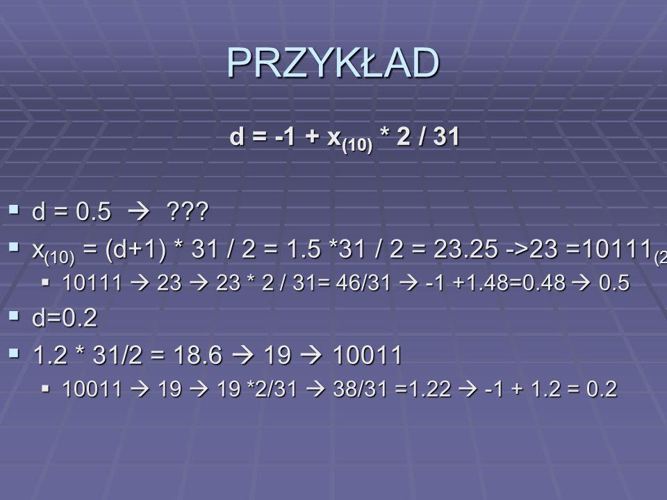 PRZYKŁAD d = -1 + x(10) * 2 / 31 d = 0.5 