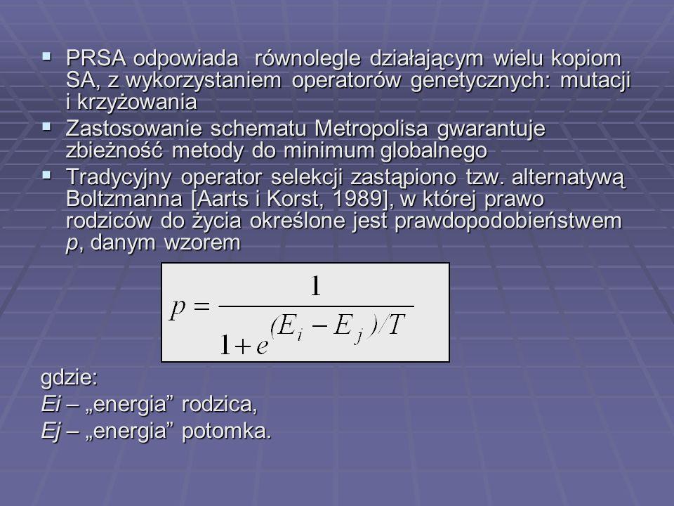 PRSA odpowiada równolegle działającym wielu kopiom SA, z wykorzystaniem operatorów genetycznych: mutacji i krzyżowania