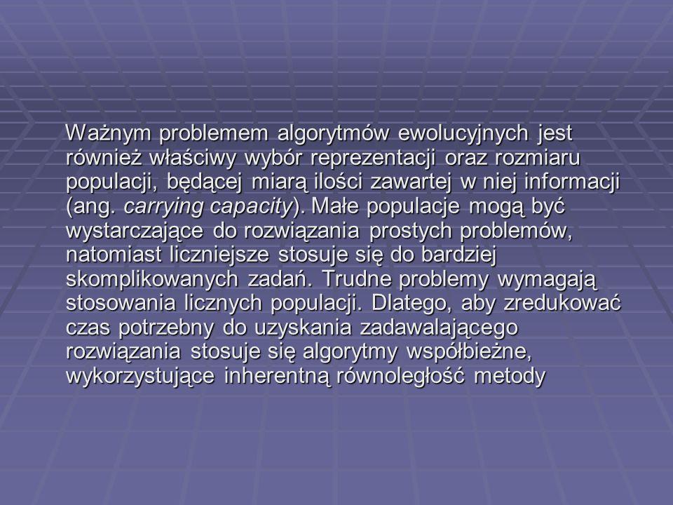 Ważnym problemem algorytmów ewolucyjnych jest również właściwy wybór reprezentacji oraz rozmiaru populacji, będącej miarą ilości zawartej w niej informacji (ang.