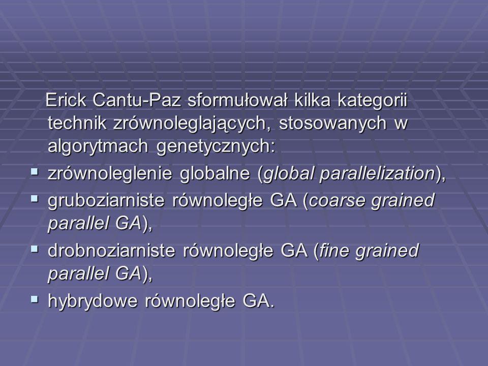Erick Cantu-Paz sformułował kilka kategorii technik zrównoleglających, stosowanych w algorytmach genetycznych: