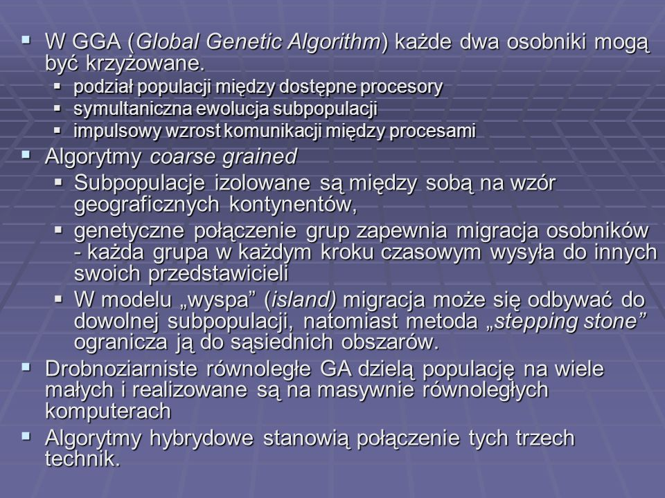 Algorytmy coarse grained