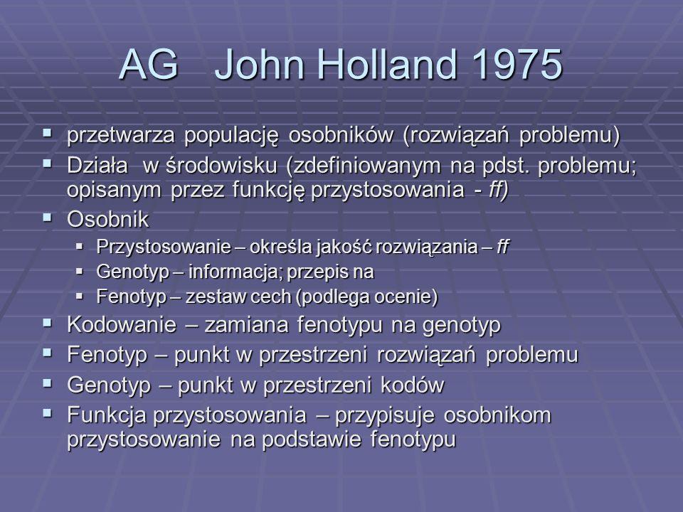 AG John Holland 1975 przetwarza populację osobników (rozwiązań problemu)