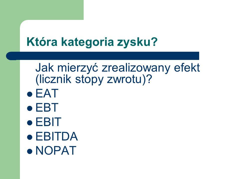 Która kategoria zysku Jak mierzyć zrealizowany efekt (licznik stopy zwrotu) EAT. EBT. EBIT. EBITDA.