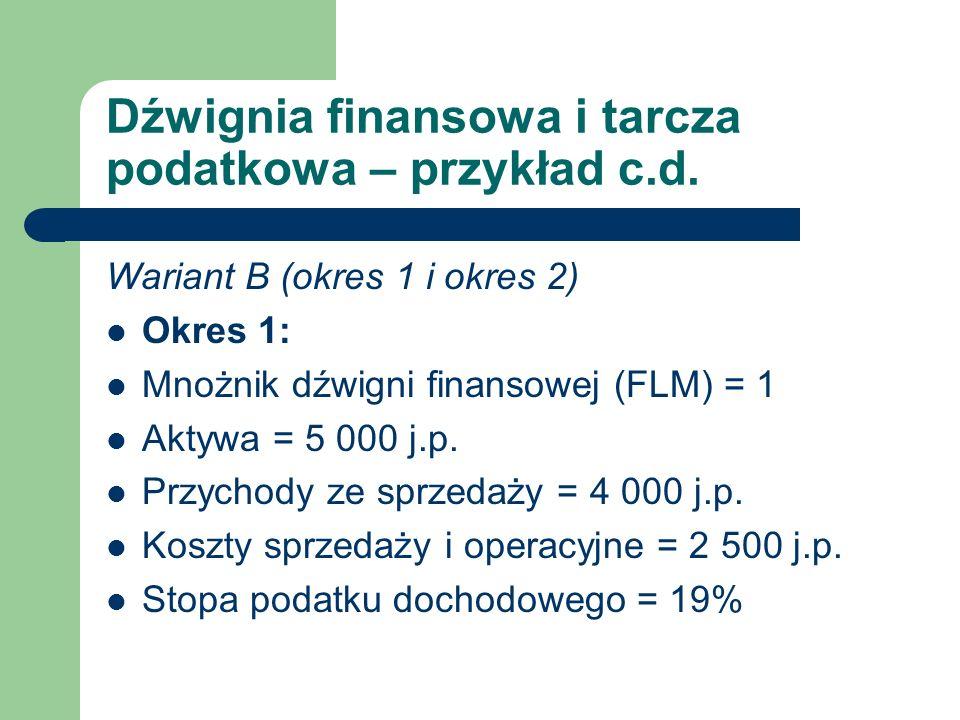 Dźwignia finansowa i tarcza podatkowa – przykład c.d.