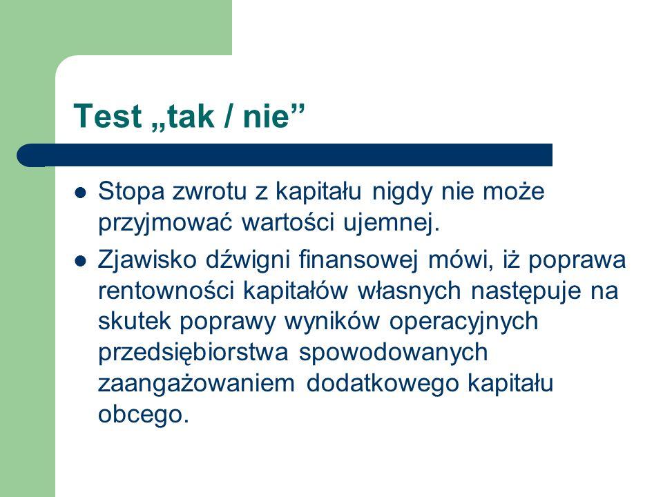 """Test """"tak / nie Stopa zwrotu z kapitału nigdy nie może przyjmować wartości ujemnej."""