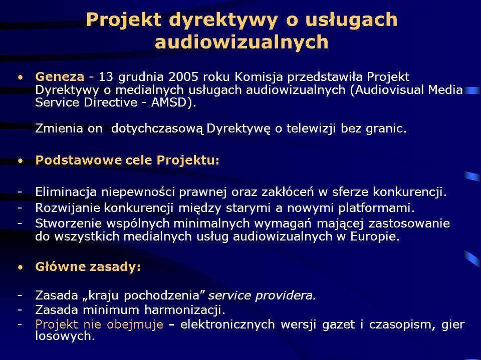 Projekt dyrektywy o usługach audiowizualnych