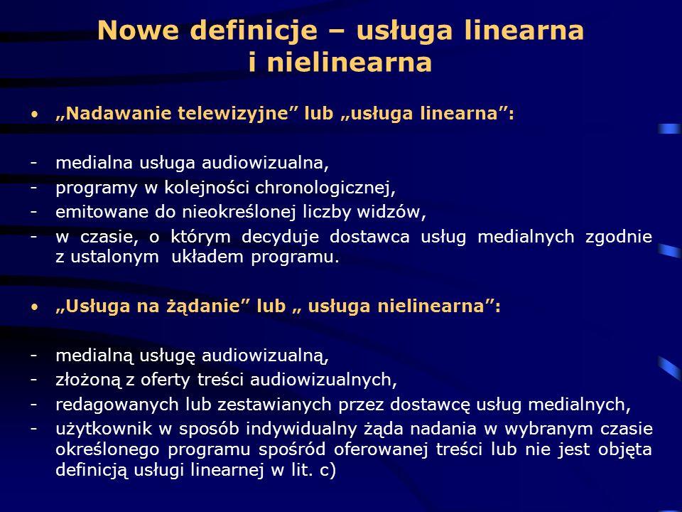 Nowe definicje – usługa linearna i nielinearna
