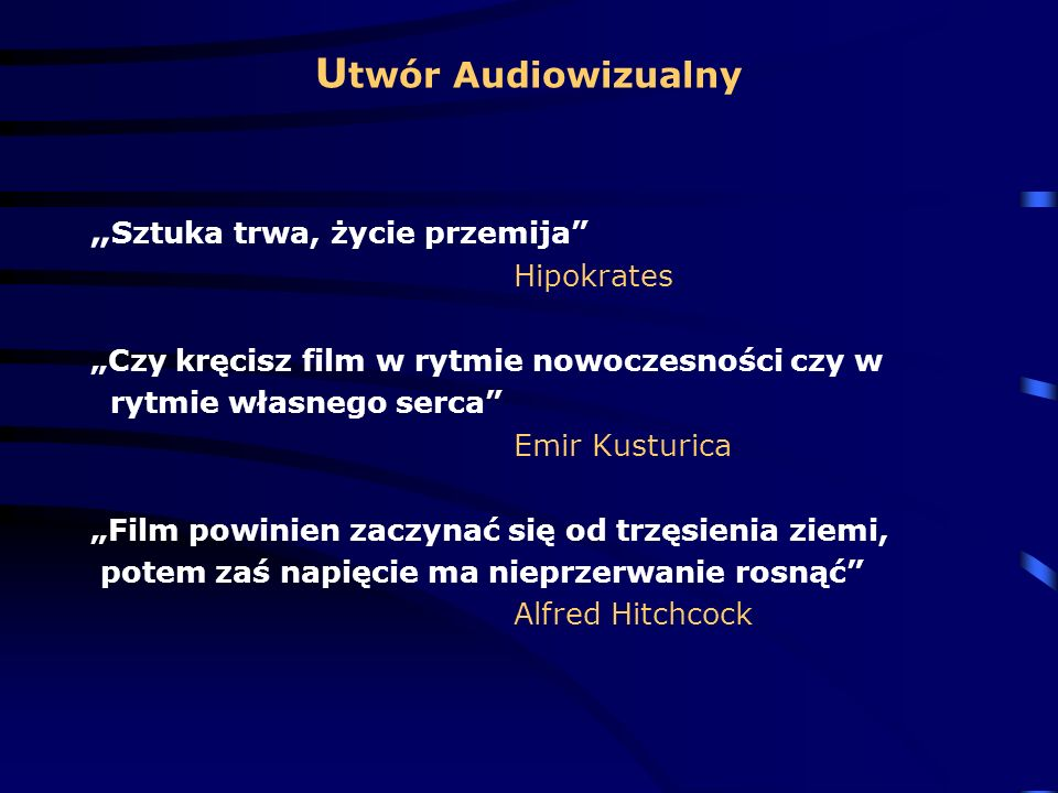 """Utwór Audiowizualny """"Sztuka trwa, życie przemija Hipokrates"""