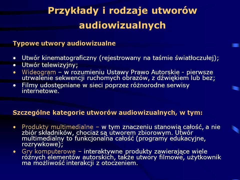 Przykłady i rodzaje utworów audiowizualnych