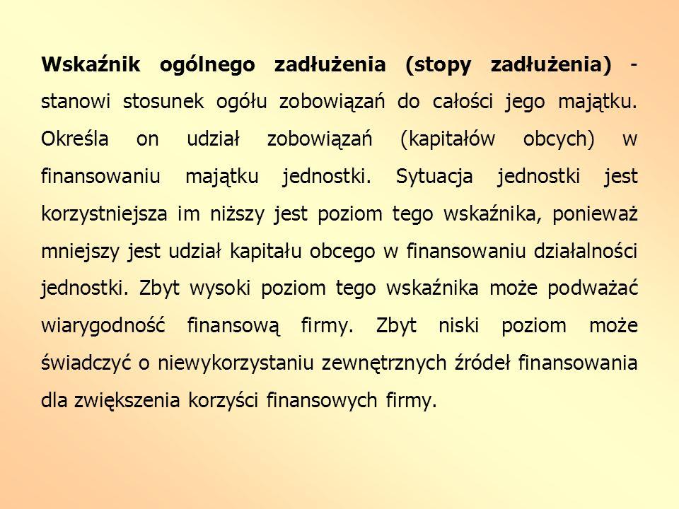 Wskaźnik ogólnego zadłużenia (stopy zadłużenia) - stanowi stosunek ogółu zobowiązań do całości jego majątku.