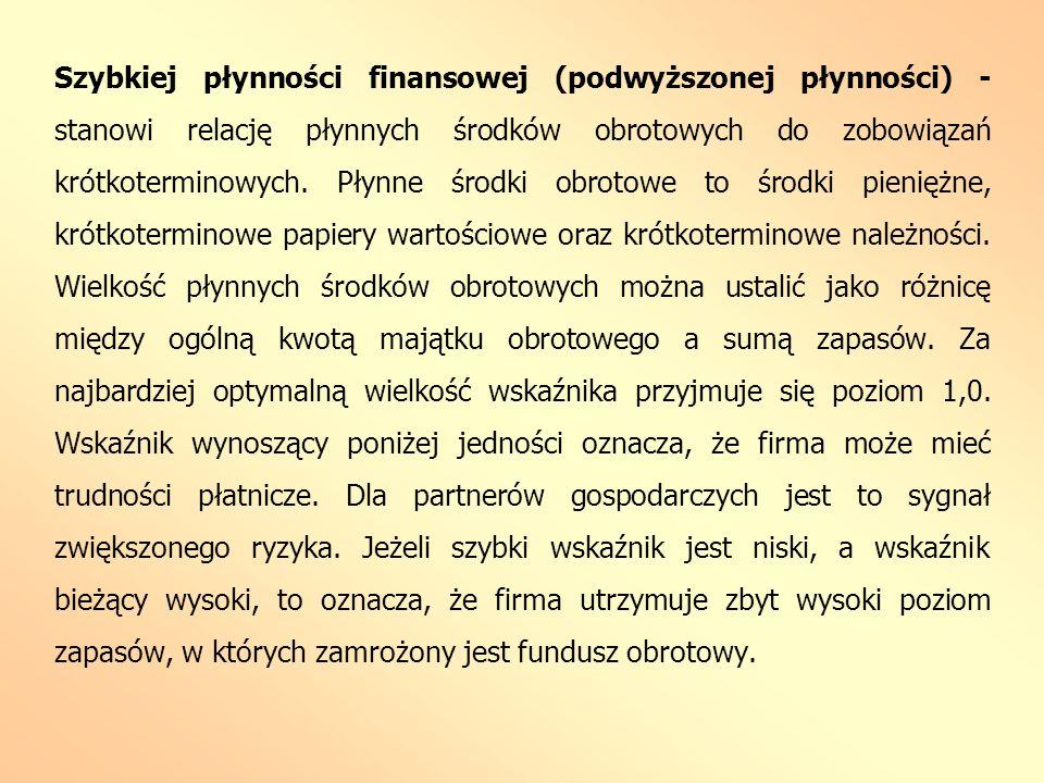 Szybkiej płynności finansowej (podwyższonej płynności) - stanowi relację płynnych środków obrotowych do zobowiązań krótkoterminowych.