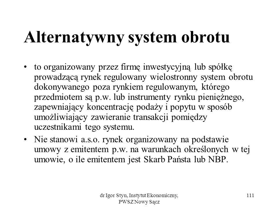 Alternatywny system obrotu