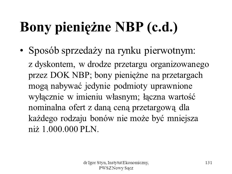 Bony pieniężne NBP (c.d.)