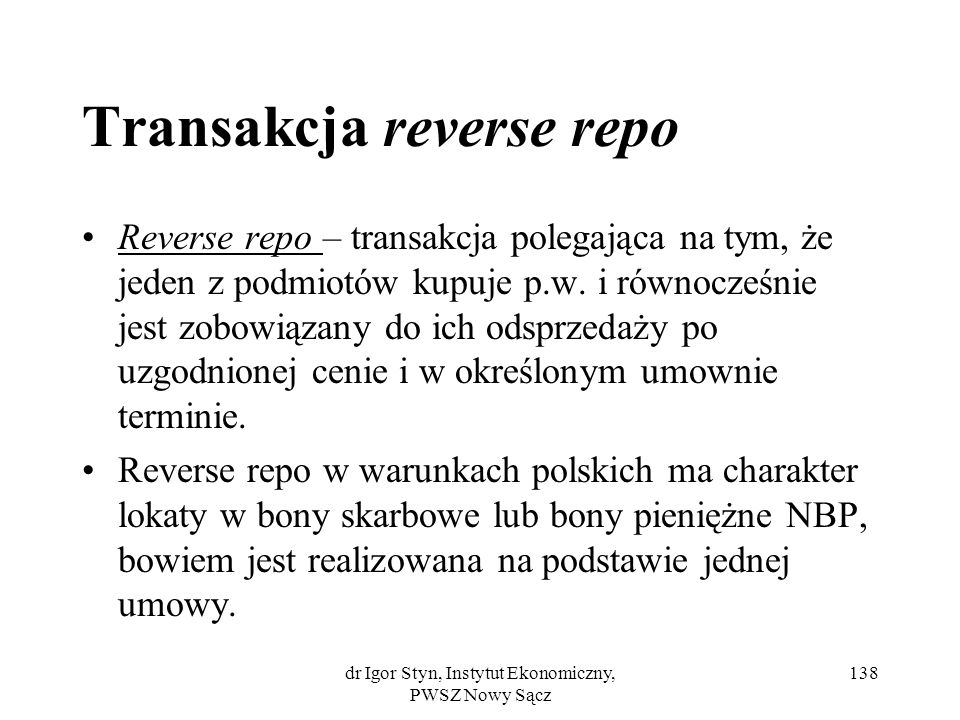 Transakcja reverse repo