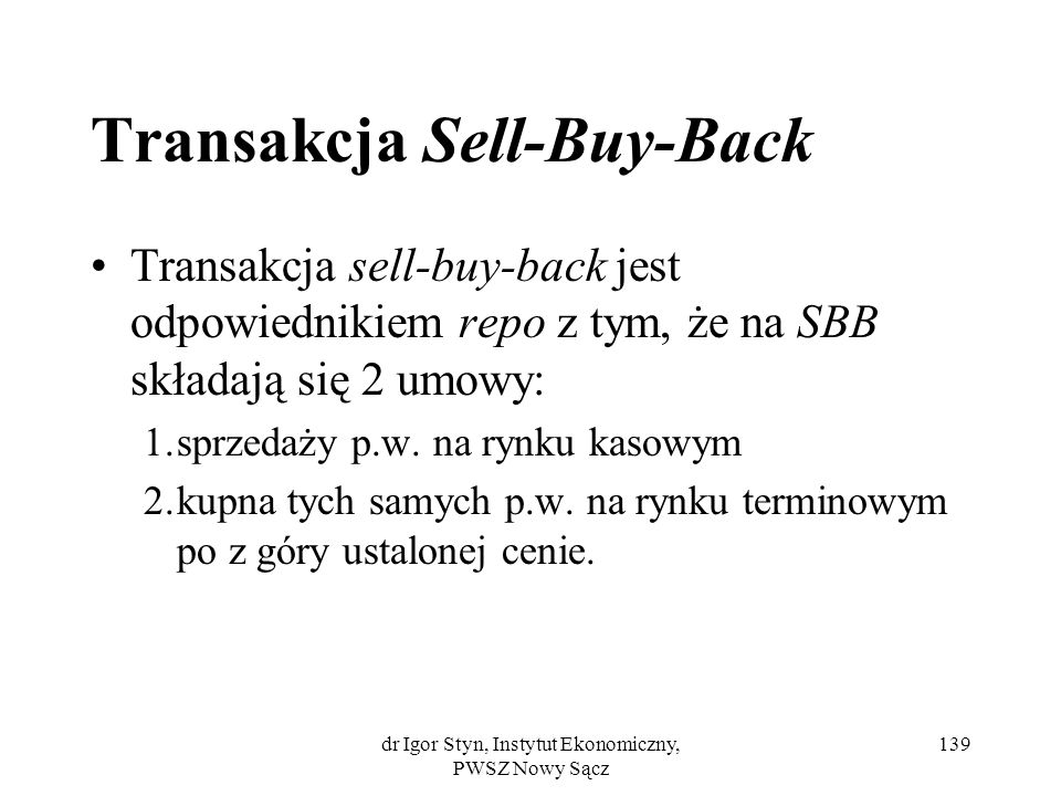 Transakcja Sell-Buy-Back