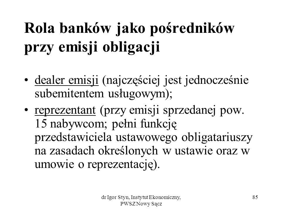 Rola banków jako pośredników przy emisji obligacji