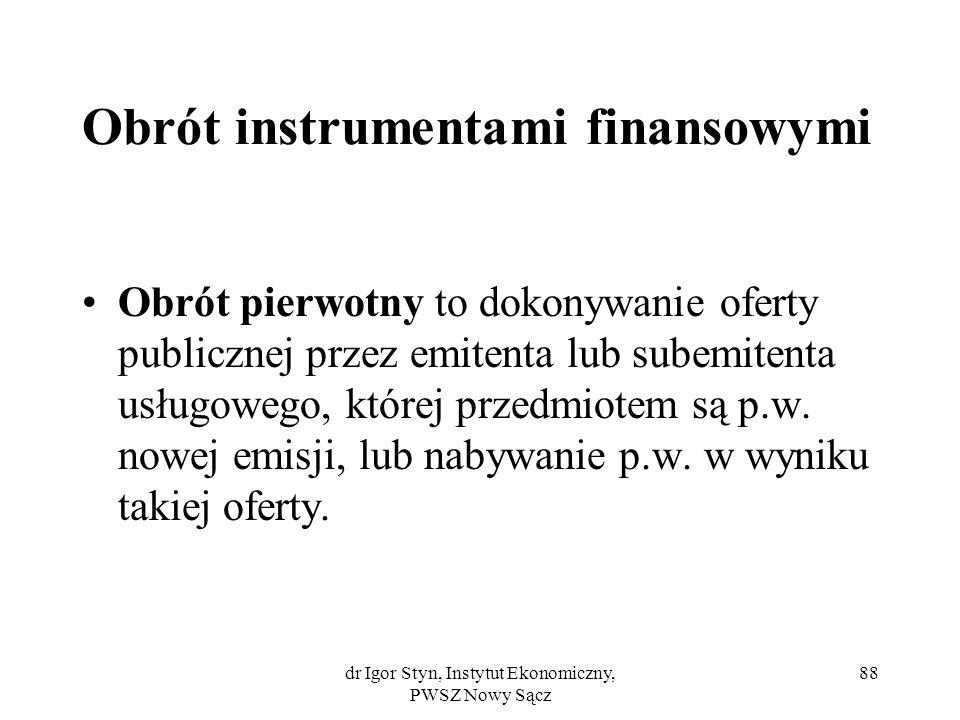 Obrót instrumentami finansowymi