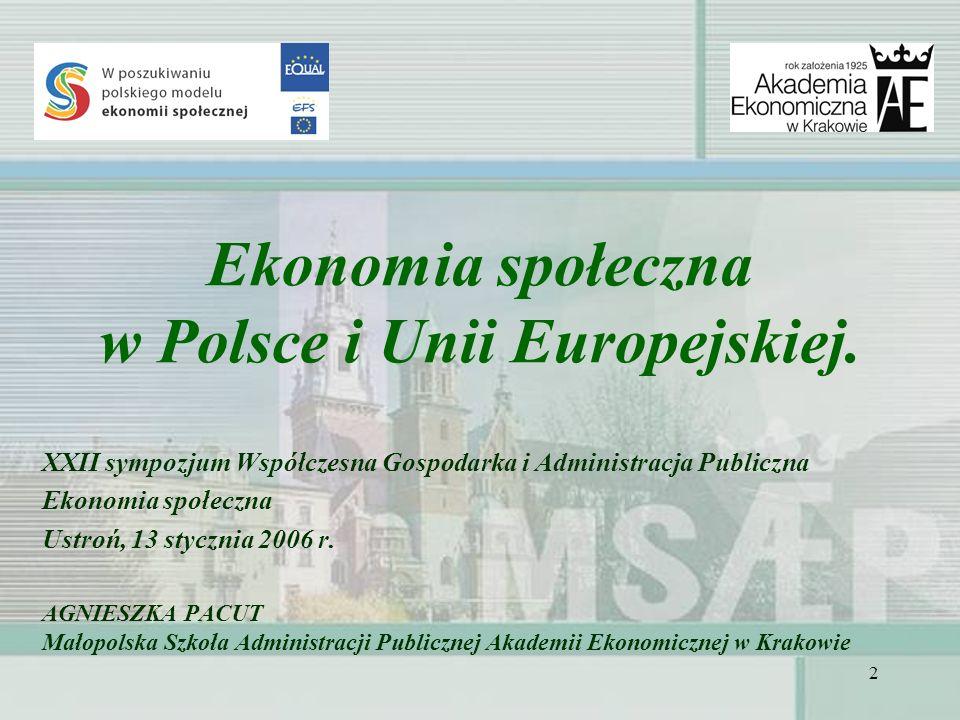 Ekonomia społeczna w Polsce i Unii Europejskiej.
