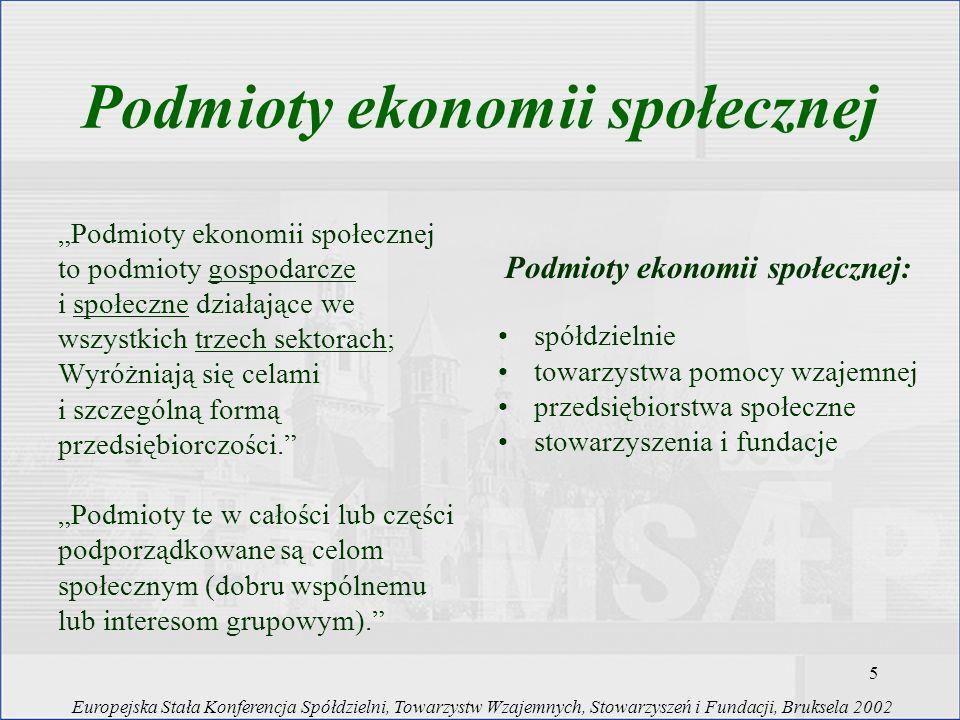 Podmioty ekonomii społecznej Podmioty ekonomii społecznej: