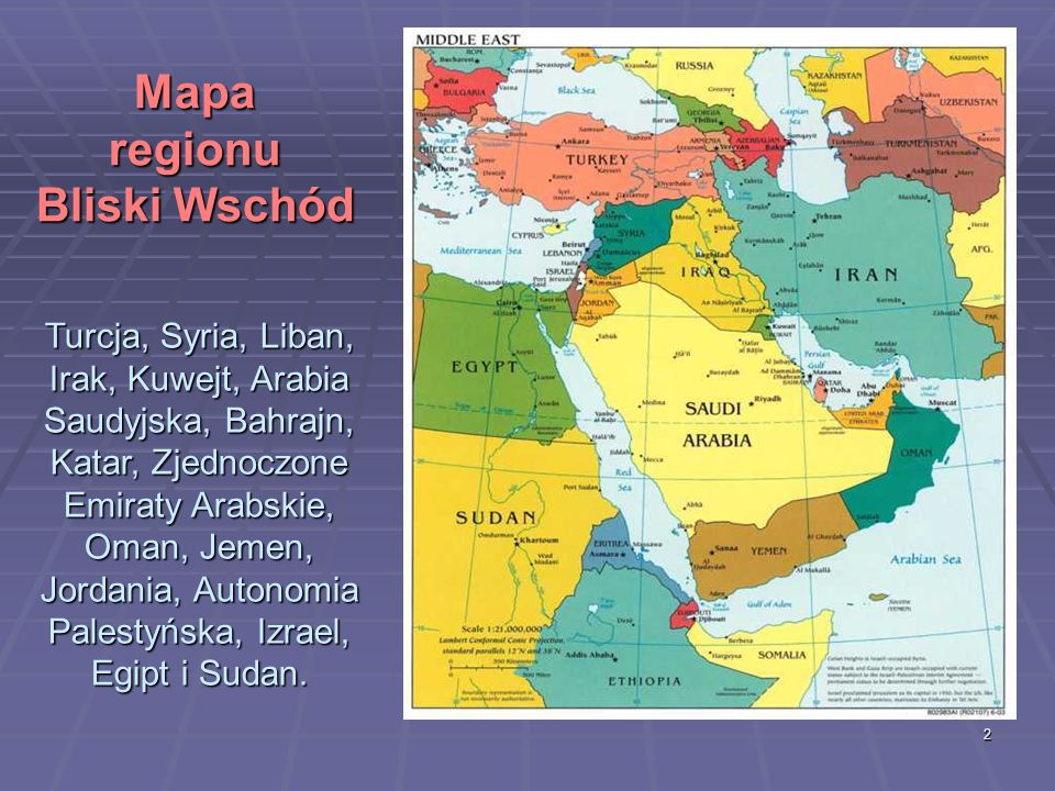 Mapa regionu Bliski Wschód