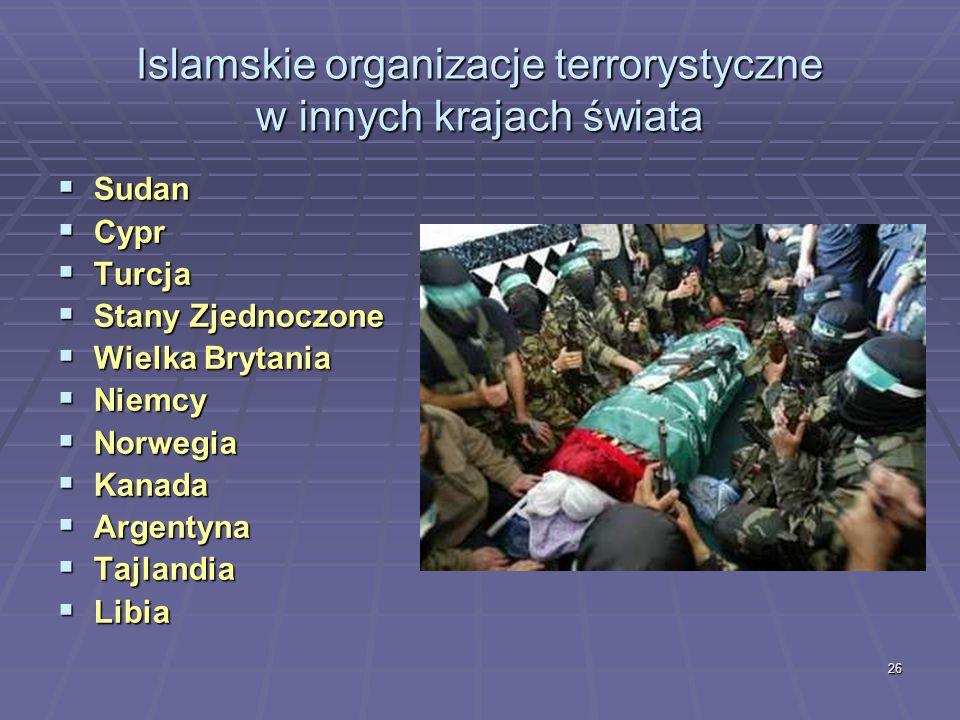 Islamskie organizacje terrorystyczne w innych krajach świata