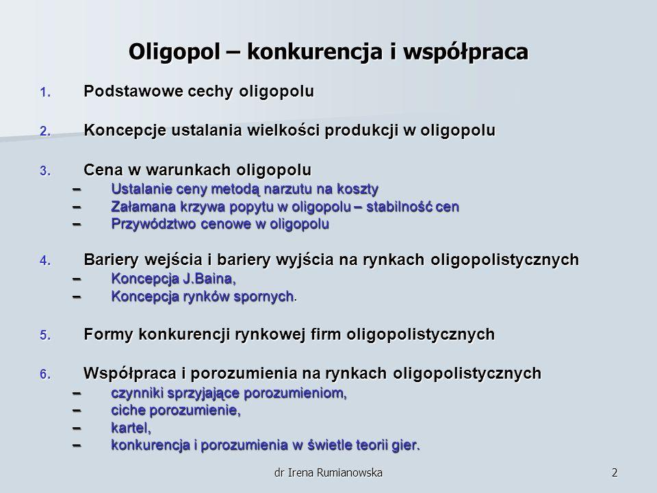 Oligopol – konkurencja i współpraca