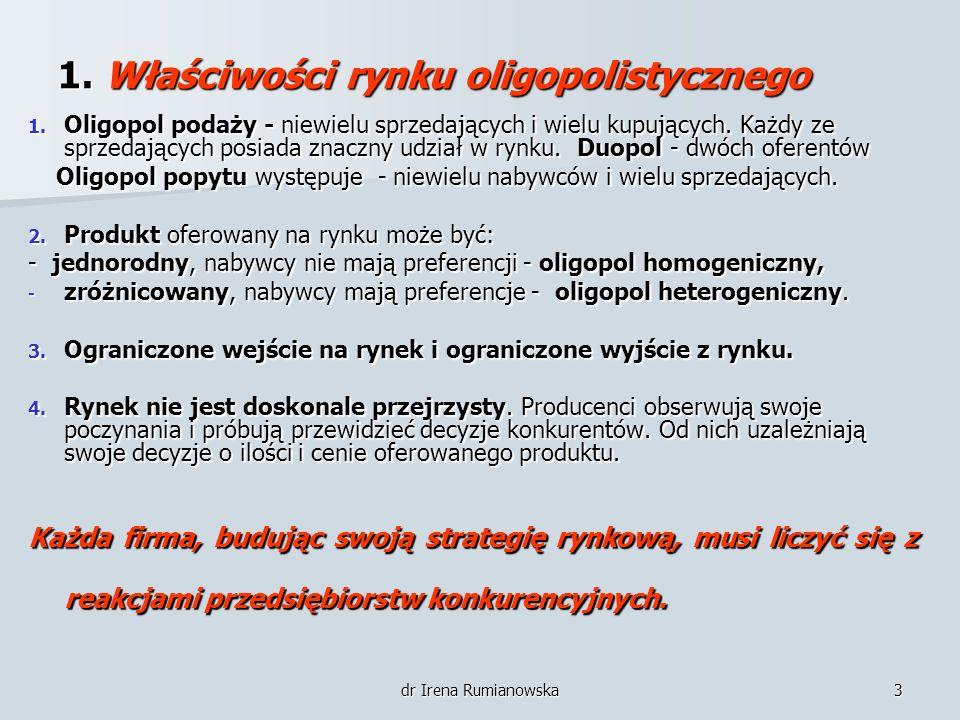 1. Właściwości rynku oligopolistycznego