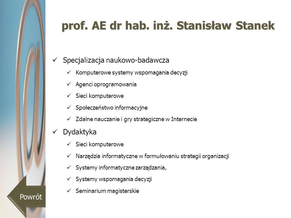 prof. AE dr hab. inż. Stanisław Stanek