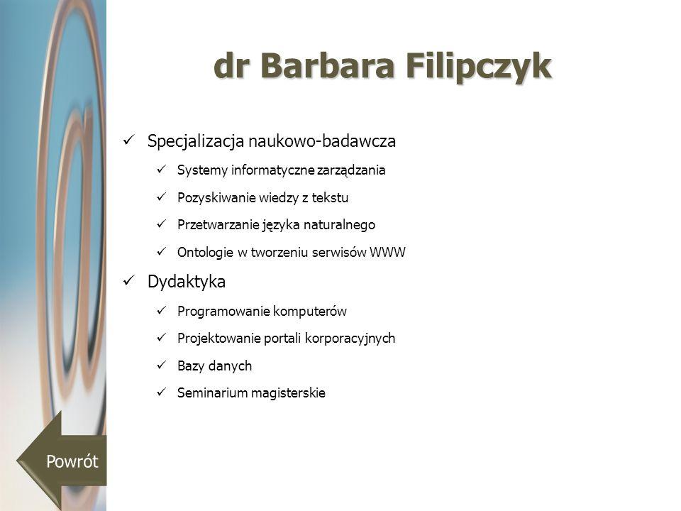 dr Barbara Filipczyk Specjalizacja naukowo-badawcza Dydaktyka Powrót