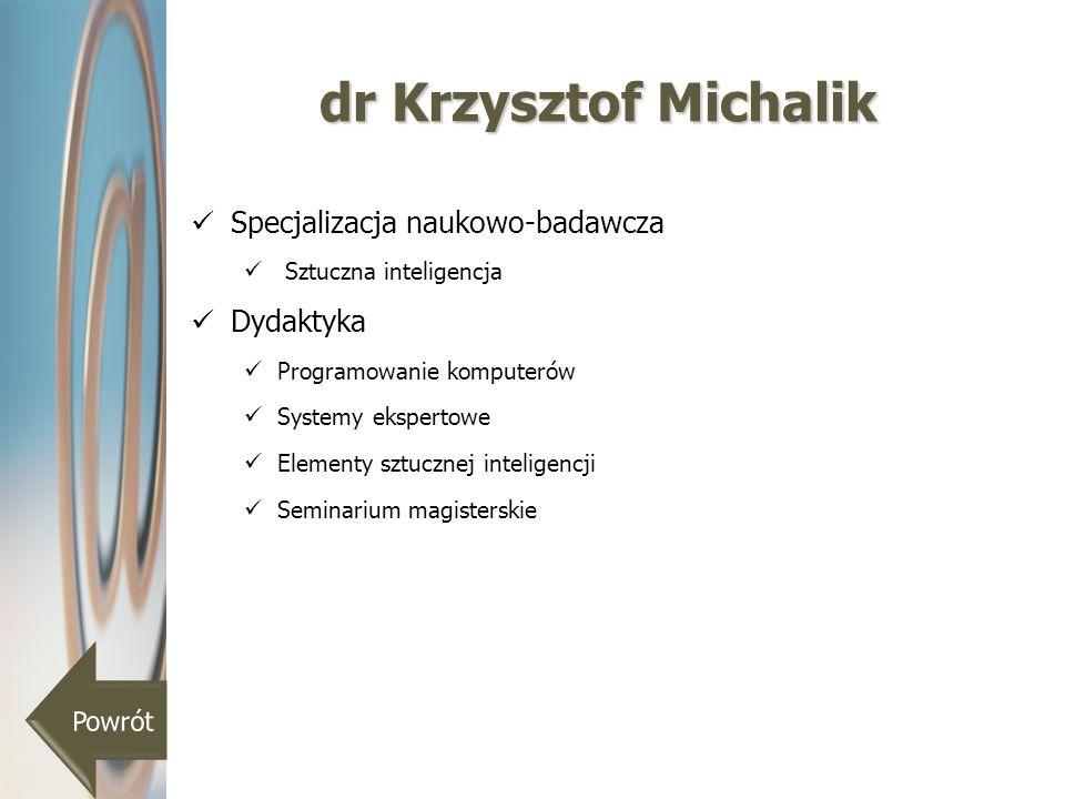 dr Krzysztof Michalik Specjalizacja naukowo-badawcza Dydaktyka Powrót