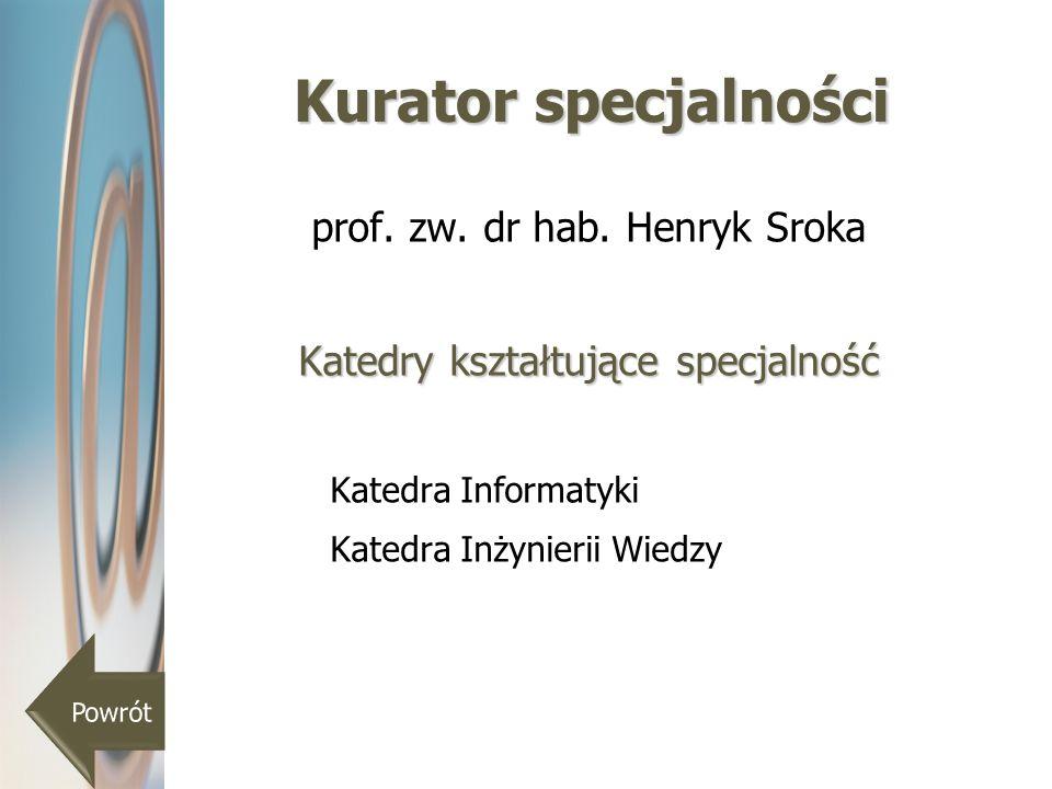 Kurator specjalności prof. zw. dr hab. Henryk Sroka