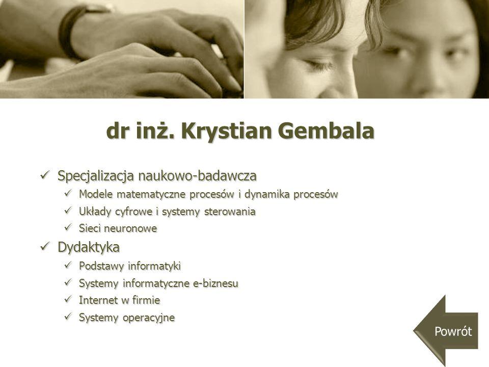 dr inż. Krystian Gembala
