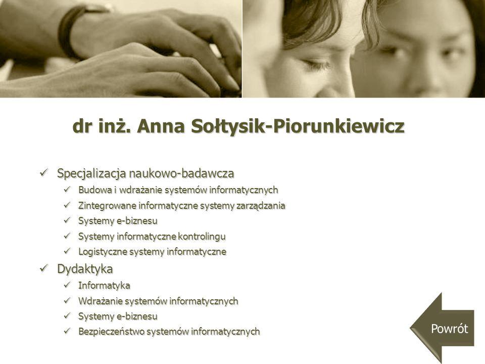 dr inż. Anna Sołtysik-Piorunkiewicz