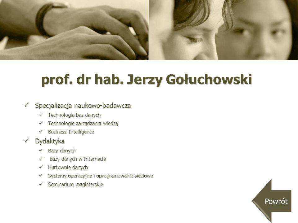 prof. dr hab. Jerzy Gołuchowski