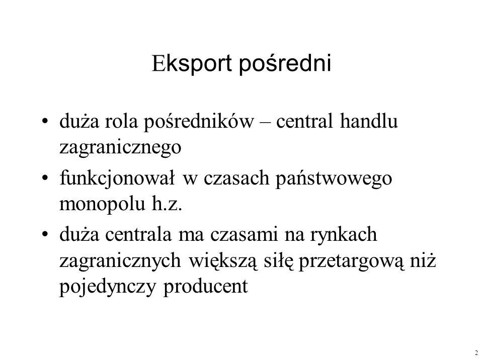 Eksport pośredni duża rola pośredników – central handlu zagranicznego