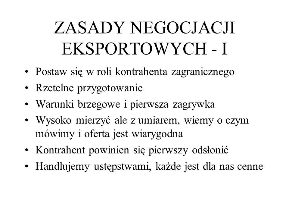 ZASADY NEGOCJACJI EKSPORTOWYCH - I